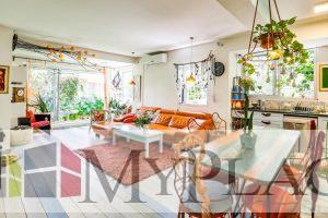 A renovated garden apartment